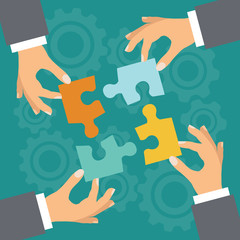 Business concept. Illustration with hands and puzzle.