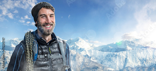canvas print picture Happy Mountaineer.