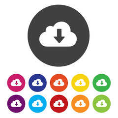 Download from cloud icon. Upload button