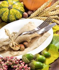 Rustic autumn table setting