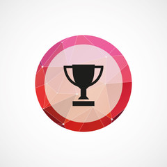 winner cup circle pink triangle background icon.