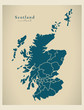 Modern Map - Scotland with regions UK - 71221726