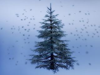 3D Winter Pine Tree