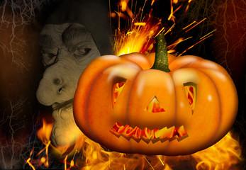 Halloween, Gespenst mit Kürbis