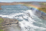 Fototapety Gullfoss (Golden falls) waterfall and rainbow in Iceland..