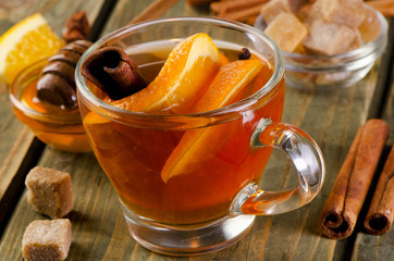 Christmas tea with orange, honey and spices
