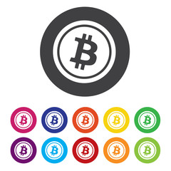 Bitcoin sign icon. Cryptography currency symbol. P2P