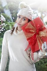 sad woman with gift box