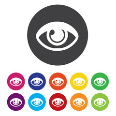 Eye sign icon. Publish content button. Visibility.