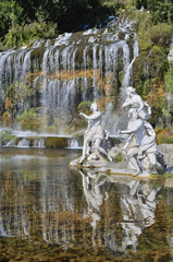 Caserta Royal Palace, upper fountain sculptures and waterfall