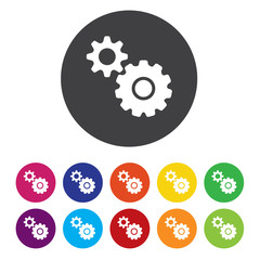Cog settings sign icon. Cogwheel gear mechanism symbol.