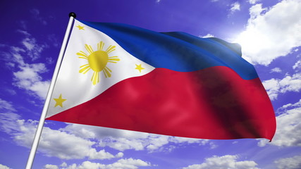 flag of Philippines with fabric structure against a cloudy sky
