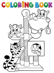 Coloring book cat theme 1