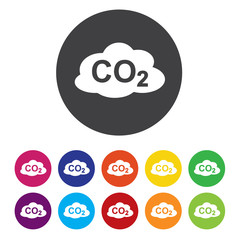 CO2 carbon dioxide formula sign icon. Chemistry symbol.