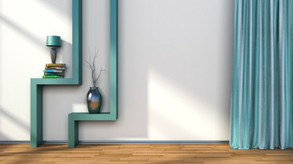 room with green curtains and shelf with lamp. 3D illustration