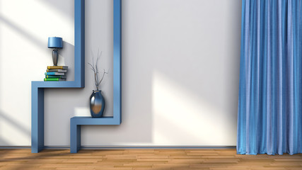 room with blue curtains and shelf with lamp. 3D illustration