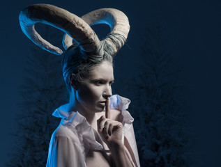 Female with goat body-art