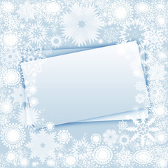 Christmas sheet of paper , snowflakes blue background