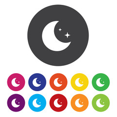 Sleep sign icon. Moon with zzz button. Standby.