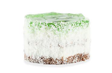 Fruit dessert hexagonal shape with a transparent green jelly and