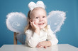 Cute little girl with butterfly costume
