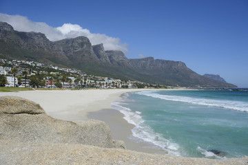 Camps Bay Beach and Twelve Apostles Mountains