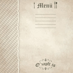 old vintage menu card background with Oktoberfest pattern