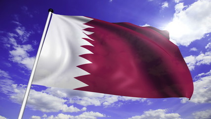 flag of Qatar with fabric structure against a cloudy sky