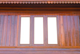Background view of wooden windows with opaque glass walls roof. poster