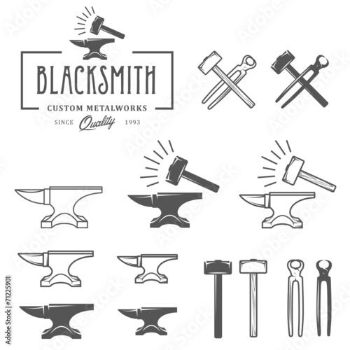 Vintage blacksmith labels and design elements - 71225901