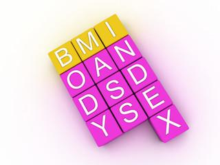 3d illustration of BMI ( Body Mass Index)