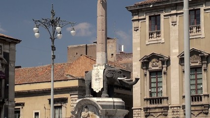 Sculpture of Elephant from lava  at the Piazza Duomo's. Sicily