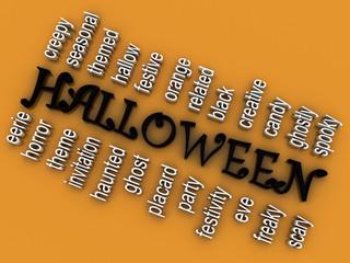 3d imagen Halloween concept word cloud background
