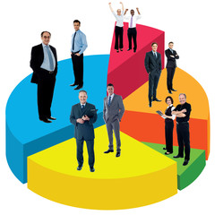 Different people standing on pie chart