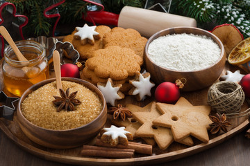 Christmas cookies and ingredients for baking