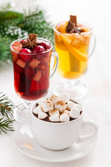 Christmas drinks - hot chocolate with marshmallows, mulled wine