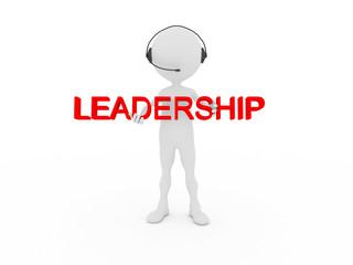3d businessman showing leadership word