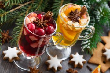 festive Christmas drinks and cookies, horizontal