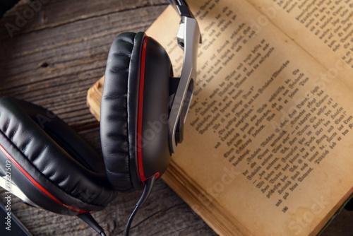 Leinwanddruck Bild Audiobook concept