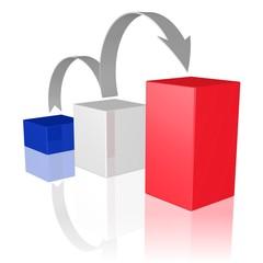 Wachstum - Symbol in den Farben der französischen Flagge