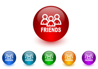 friends vector icon colorful set