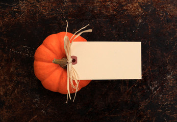 Blank cream tag on top of a pumpkin