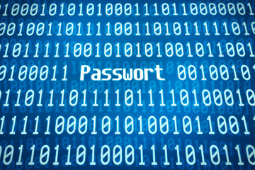 Binärcode mit dem Wort Passwort im Zentrum