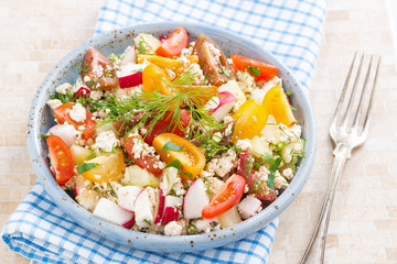 healthy food - salad with vegetables and cottage cheese