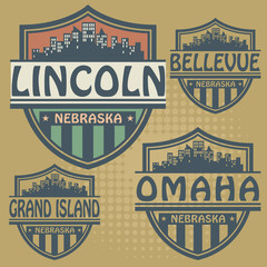 Label set with names of Nebraska cities, vector