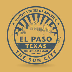 Grunge rubber stamp with name of Texas, El Paso