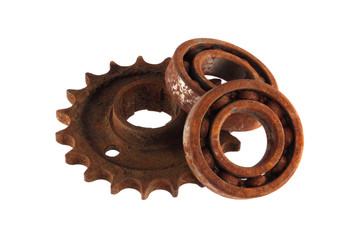 Gear wheels and cogs on a white background