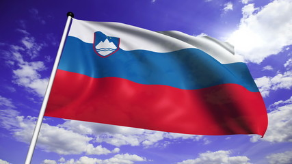 flag of Slovenia with fabric structure against a cloudy sky