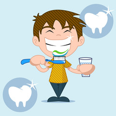Dental care and health, kids, vector illustration