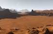 Martian landscape with craters and moon - 71229940